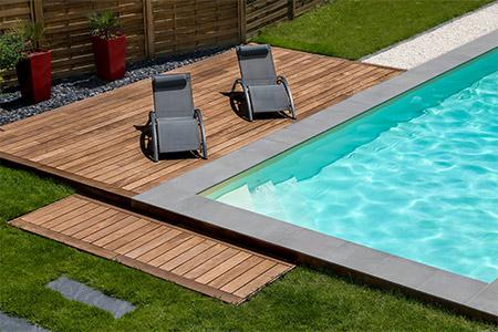 terrasse piscine bois chaudet paysage Bruz
